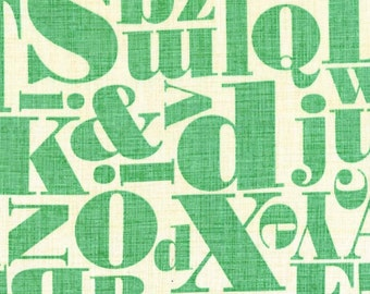 Just My Type by Patty Young for Michael Miller - Letterpress - Mint - 1/2 yard cotton quilt fabric 516
