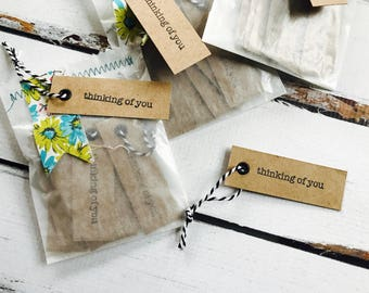 Thinking of YOU mini kraft tags - Thinking of You - Mini Kraft tag - Kraft tag - Kraft packaging -  The Polka Dot Barn tags - Mini tags