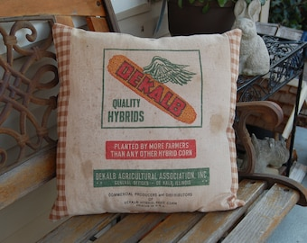 """Vintage Seed Sack Pillow Cover - Brown Gingham 18""""x18"""""""