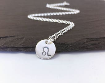 Leo zodiac necklace, sterling silver Leo star sign necklace, hand stamped Leo charm pendant, gift for teenager, August birthday gift