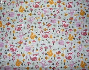Fabric C517 fall pink/orange/brown coupon 35x50cm