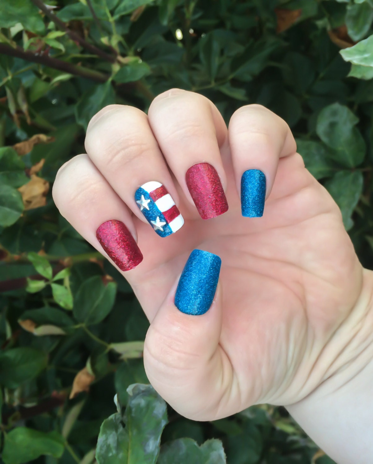 Red White and Blue Nails Red Fake Nail Set Blue False