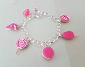 Wristband chain, handmade fushia pink delicacies