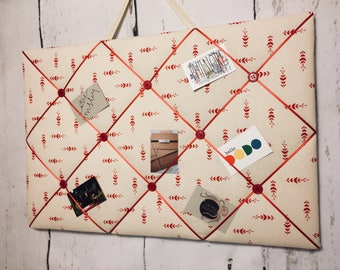 Cream and red 100% Cotton fabric ribbon board with red satin ribbon and 8 red buttons, pegboard, memo board 60 cm x 40 cm