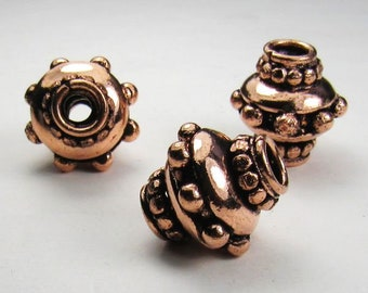 Incredible Genuine Copper Beads 15mm Focal Beads Large Hole Beads 3 pcs. GC-355