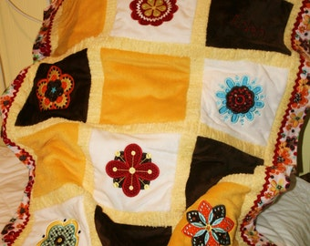 "Appliqued Minky Baby blanket  ""Just Plain Adorable"""