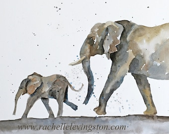 for him african artwork watercolor painting elephant painting elephant print elephant art print animal painting ATC SMALL Trading Card