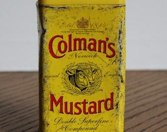 Vintage Tin ~ Colman's English Mustard Tin ~ Kitchen Decor ~ Shabby Chic