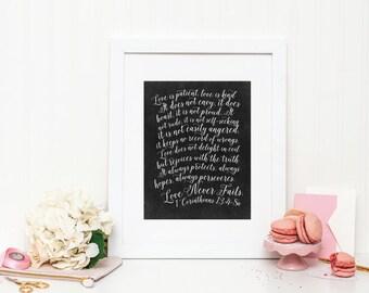 Chalkboard Art Print - First Corinthians - Mirabelle Creations