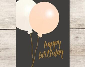 Oversized Balloons Birthday card, Blush Pink Balloon