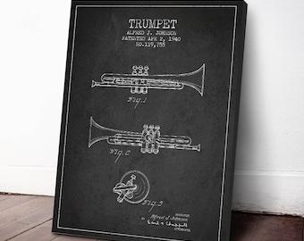 1940 Trumpet Patent, Trumpet Print, Trumpet Canvas Print, Wall Art, Home Decor, Gift Idea, MUIN04C