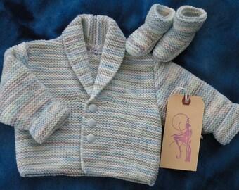Handmade Shawl Collar Jacket and Matching Bootees
