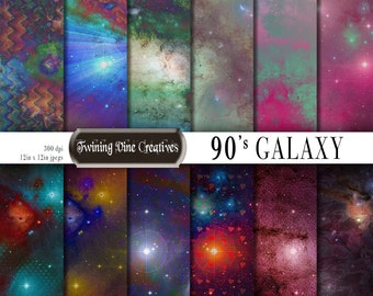 90's Galaxy Digital Paper, Commercial Use, Retro Space Scrapbook Paper, Cosmic Download, Tie Dye Neon, Funky, Grunge, Grainy, Stars Universe