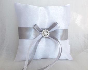 White ring bearer pillow Grey ring bearer pillow Wedding pillow Ring cushion Wedding ring holder Bridal accessory Custom ring pillow Satin