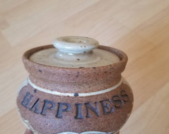 Lidded Canister Jar with Lid Happiness Glazed Stoneware Pottery Vintage Boho Bowl with Top Neutral Brown and Cream Trinket Dish