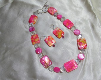 Hot pink shell necklace