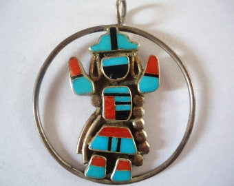 Sterling Turquoise, Coral Native American Vintage Pendant- Dancing inlaid Stone