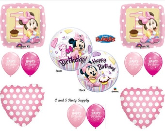 MINNIE MOUSE 1st First Happy Birthday Party Balloons Decorations Supplies Bubble