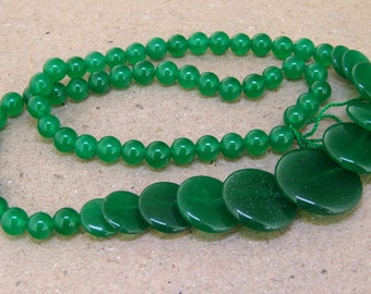 "Full Strand Coin  Green Jade Beads ----- 6mm-20mm ----- about 60Pieces ----- gemstone beads--- 15"" in length"