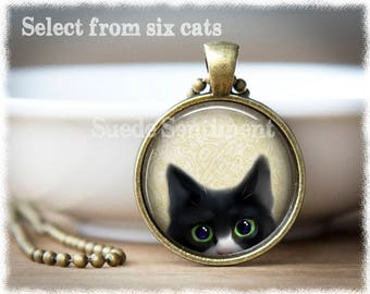 Peeking Cat Necklace • Cat Jewelry • Black Cat Pendant • Tabby Cat Gift • Gifts Cat Lovers