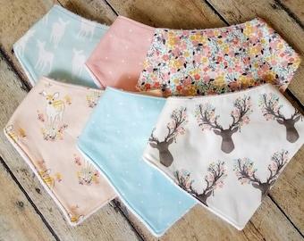 Baby Bib, Baby Girl Bandana Bib, Pink and Blue Drool Bib, Baby Girl Gift, Deer and Floral Bandana Bib, Dot Bandana Bib