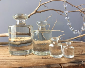 VINTAGE GLASS...4 piece glass grams kilo scale weights ~ paper weight glass art design office sweet collection pieces
