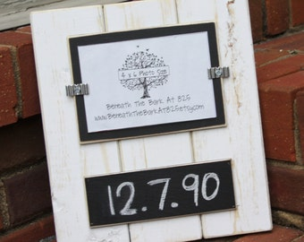 Picture Frame with Chalkboard - Holds a 4x6 Photo - Distressed Wood - White & Black with a Black Chalkboard