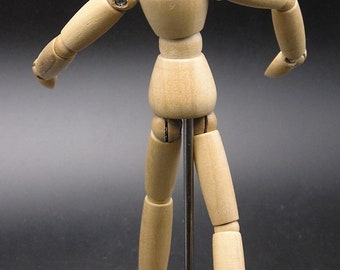 "Small 6.25"" articulated posable wooden manequin / artist's model"
