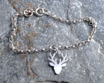 Sterling silver chain stag's head stag bracelet sterling silver 925 bracelet