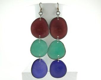 Winter Berry, Robins Egg Blue, and Grape Purple Shoulder Duster Trio Tagua Nut Eco Earrings Free USA Shipping #taguanut #ecofriendlyjewelry