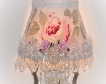 Lovely Large Pink Cabbage Cottage Chic ROSE Lampshade NIGHT LIGHT