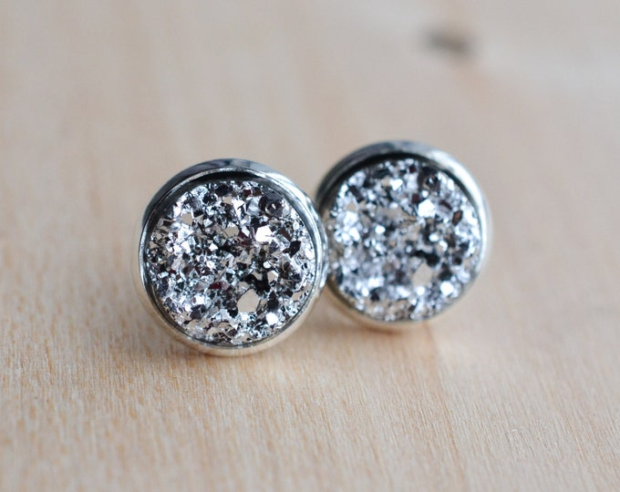 Silver Druzy Earrings - Gray Druzy Earrings - Grey Druzy Earrings - Gunmetal Druzy Earrings - Charcoal druzy earrings - Druzy Post Earrings