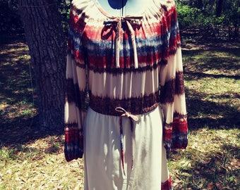 Vintage 70s Tribal Print Day Dress Boho size Medium FREE SHIPPING