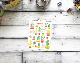 Cactus Stickers, planner stickers, scrapbook stickers, decorative stickers to match the Hello Cactus Kit
