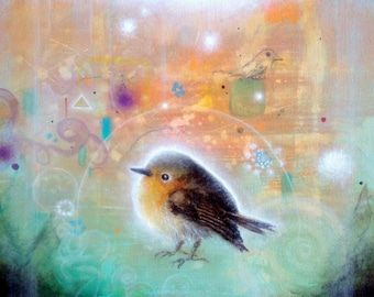 """Bird Print -  Bird Art Print -  Abstract Art -    8""""x10"""" ART PRINT"""