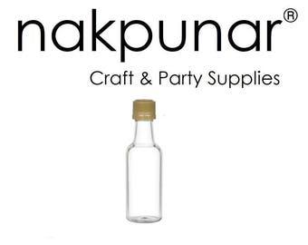 96 pcs 50 ml Round Plastic Liquor Bottles with Gold Cap