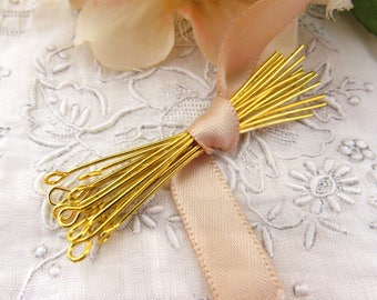 Gold Plate Eye Pins 2 Inches 21 Gauge US Made Jewelry Findings – Set of 50
