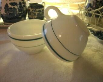 Pyrex Tableware mugs with Teal Stripe