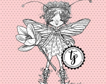 Crocus Flower Fairy - black and white instant download digital stamps by Tierra Jackson