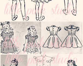 Pattern Girls 02,  Printable Collage Sheet (digital download, printable)