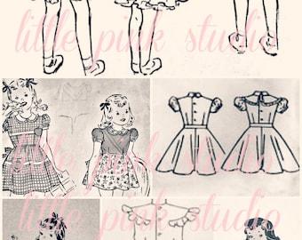 Pattern Girls 02,  Printable Collage Sheet (digital download, printable)