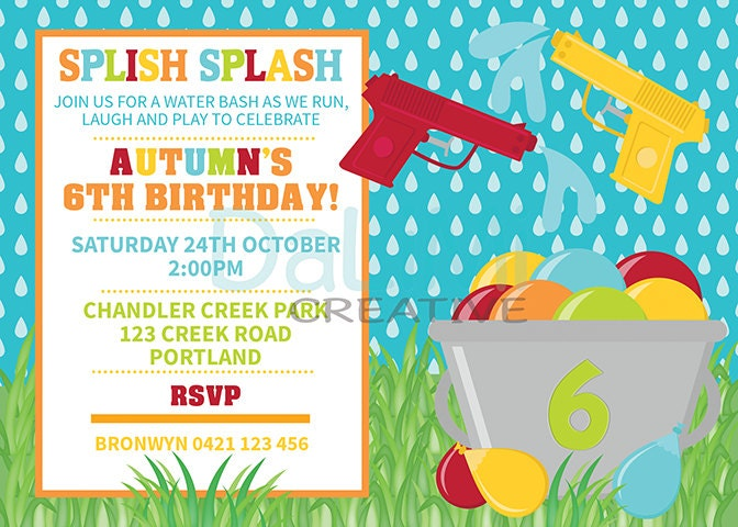 Water Gun Birthday Invitation Water Party Invitation