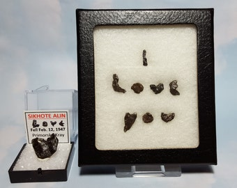 Sikhote Alin I LOVE YOU Extraterrestrial Meteorite Writing Display Genuine Outer Space Rocks Fell 1947 Russia Rare Souvenir Gift