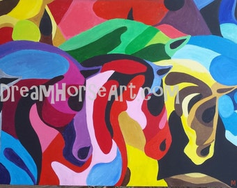 Night Herd 2, Galloping Horses on canvas, powerful and bold colored equines, 24 x 48, equine artist M Theresa Brown, Dream Horse Art USA