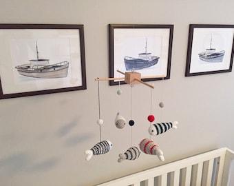 Nursery Decor Boy Baby Mobile, Nursery Decor Nautical, Fish Nursery Decor, Crib Ocean Mobile, Marine Nursery Mobile