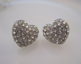 Silver Heart Earrings - Stud Earrings - Rhinestone Silver Heart Earrings - Beach Earrings - Beach Wedding - Nautical Jewelry