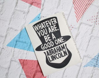 Abraham Lincoln Decal, Lincoln Decal, Lincoln, 16th President, History, Honest Abe, United States, Vinyl Decal, Yeti, Abe Lincon, decal
