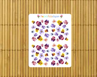 S201 - 64 Floral Pansy Planner Stickers