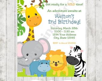 Wild Animals, Jungle, Safari Birthday Invitations - Printed Jungle Safari Birthday Invitation by Dancing Frog Invitations