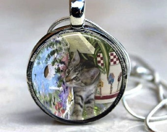 Bird Watching TABBY CAT  Pendant - Round Art Photo Necklace - you choose finish and chain